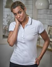 Womens Luxury Stripe Stretch Polo